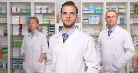 Group of People Pharmacists Portrait Looking Camera Team Pharmacy Presentation