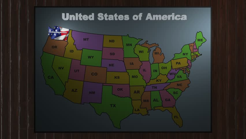 Arizoma Pull Out From USA States Abbreviations Map Stock Footage - United states map with abbreviations