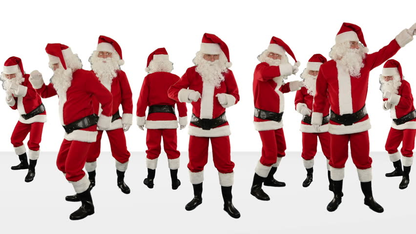 Christmas Dancing Santa.Bunch Of Santa Claus Dancing Stock Footage Video 100
