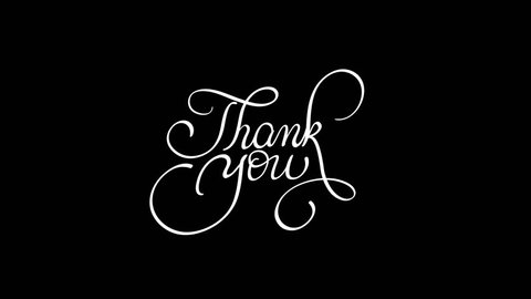 written thank you animation text with PNG alpha channel. Hand drawn Calligraphy lettering illustration