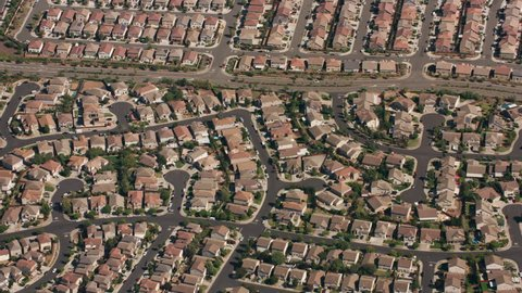 California circa-2017, Aerial shot of housing development in Northern California. Shot with Cineflex and RED Epic-W Helium.