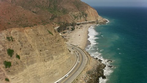 Malibu, California circa-2017, Aerial shot of Malibu beach and Pacific Ocean. Shot with Cineflex and RED Epic-W Helium.