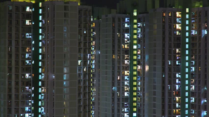 Time lapse of hong kong residential building at night  #31654789