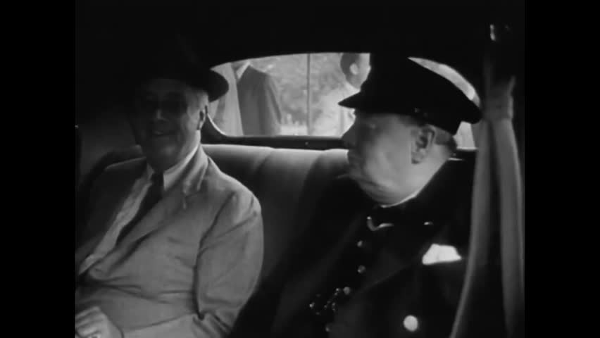 CIRCA 1942 - FDR and Winston Churchill arrive at the Washington Conference to discuss the invasion of North Africa.