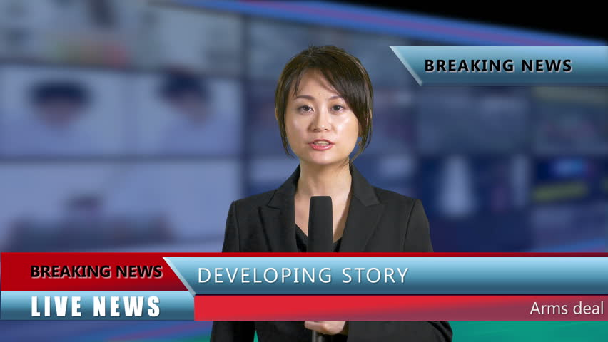 Asian American News Anchor in Studio with lower thirds | Shutterstock HD Video #31670209