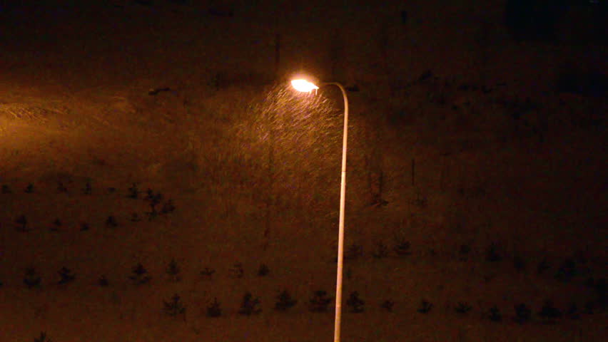 Street Lighting Pole In Winter And Snowflakes Illuminated At Night Stock Footage Video 3168259