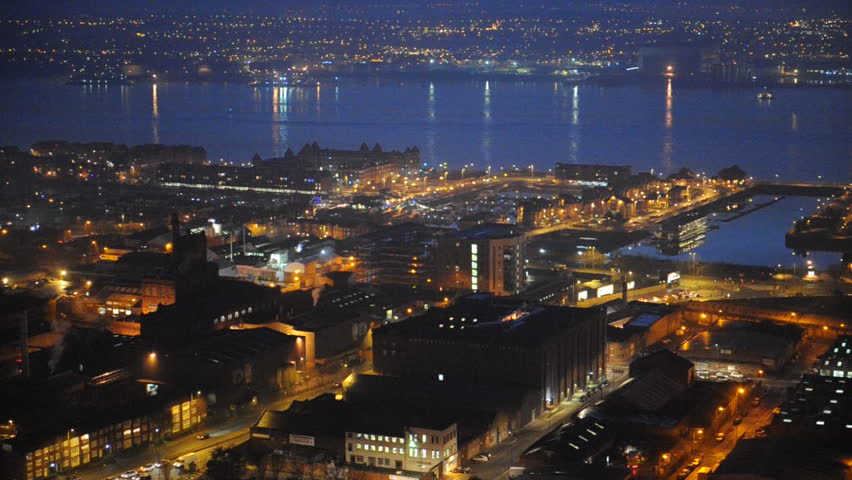 View of Liverpool City with the Merseyside River at night, Liverpool, England, UK, GB, Europe (HD Video)