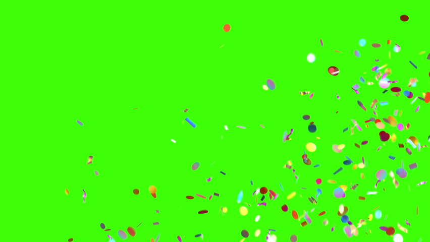 Confetti Rain on a Green Background, 3d Animation 4K. look for more options in my portfolio