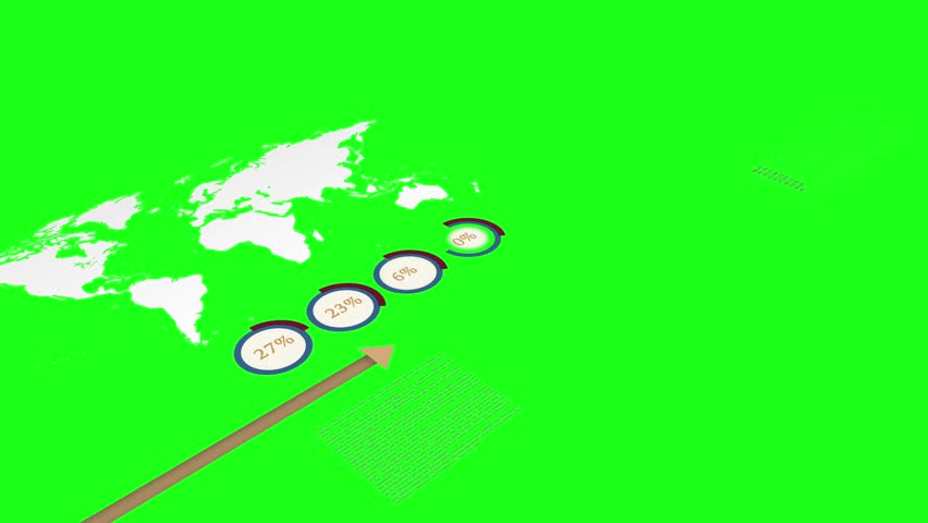 animated arrow following financial sales data infographics showing global network expanding world wide business isolated on green screen background