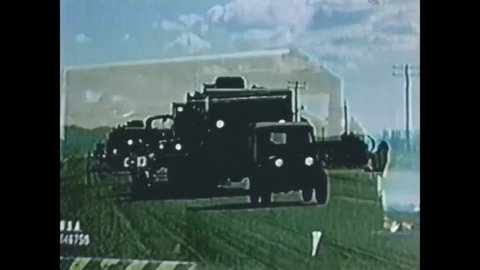 CIRCA 1950s - A military convoy carrying Atomic Cannons drives through Las Vegas on the way to the Nevada Test Site, in Nye County, in 1953.