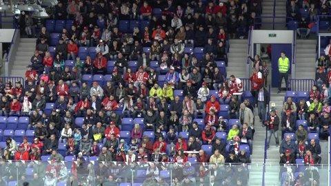 PODOLSK, RUSSIA - SEPTEMBER 29, 2017: Zoom on tribune and spectators on hockey game Vityaz vs Torpedo on 10th Russia KHL championship in Podolsk, Russia. Torpedo won 1:0