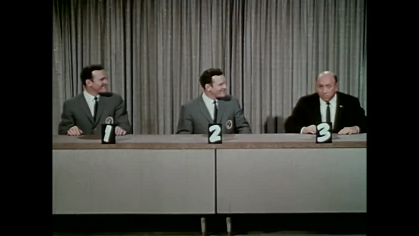 "CIRCA 1960s - The final segment of the 1960s TV show ""To Tell the Truth"" is parodied in 1964."