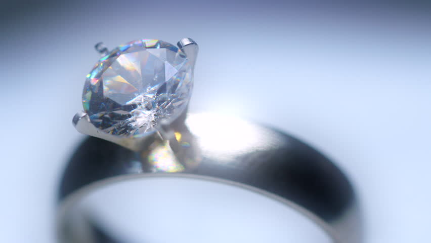 Diamond ring spinning on turntable