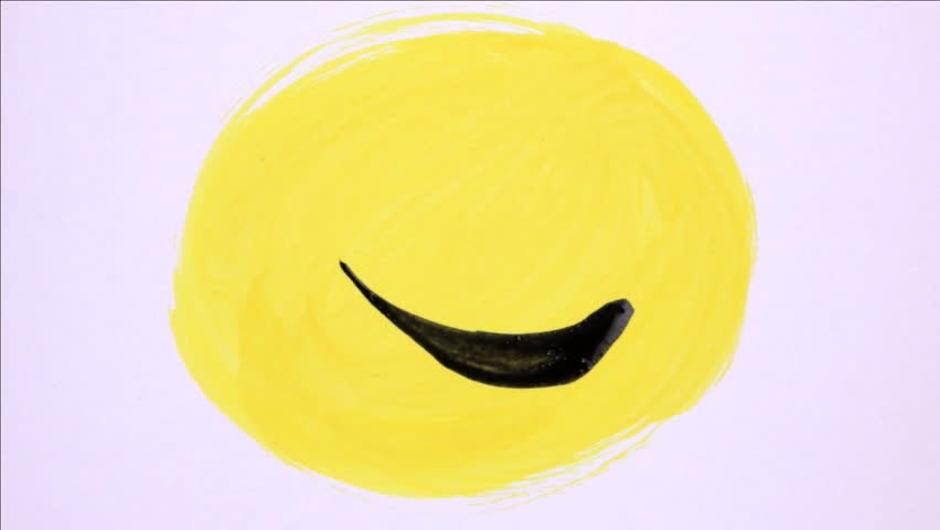 Artist painting smiley faces
