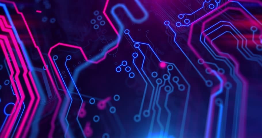 Purple, violet, blue neon background with digital integrated network technology. Printed circuit board. 3D video. Circuit board futuristic server code processing. PCB, Code, HTML.v | Shutterstock HD Video #31778269