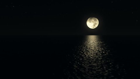 Seamless loop moonlight path with low fool moon above the sea