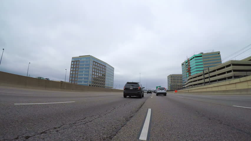 Denver, Colorado, USA-September 23, 2017 -  Driving South on Interstate Highway I25 on cloudy day. | Shutterstock HD Video #31786669