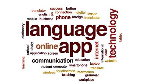 Language app animated word cloud, text design animation.