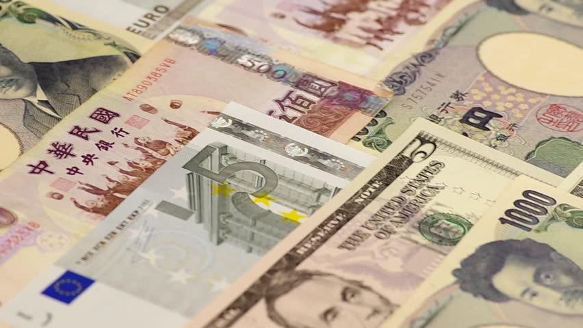 Euro, US dollar, Japanese Yen, New Taiwan Dollar | Shutterstock HD Video #3184972