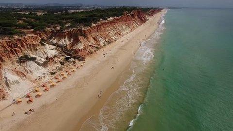 Aerial footage of Falesia Beach (Praia da Falesia) in Algarve, Portugal
