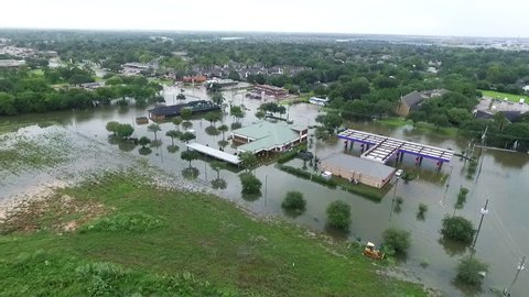 LEAGUE CITY, TEXAS - AUGUST 27th 2017 Flooded car near i45 outside of Houston Texas during Hurricane Harvey
