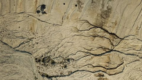 Aerial view of sinkholes developing around the coast of the Dead Sea in Israel