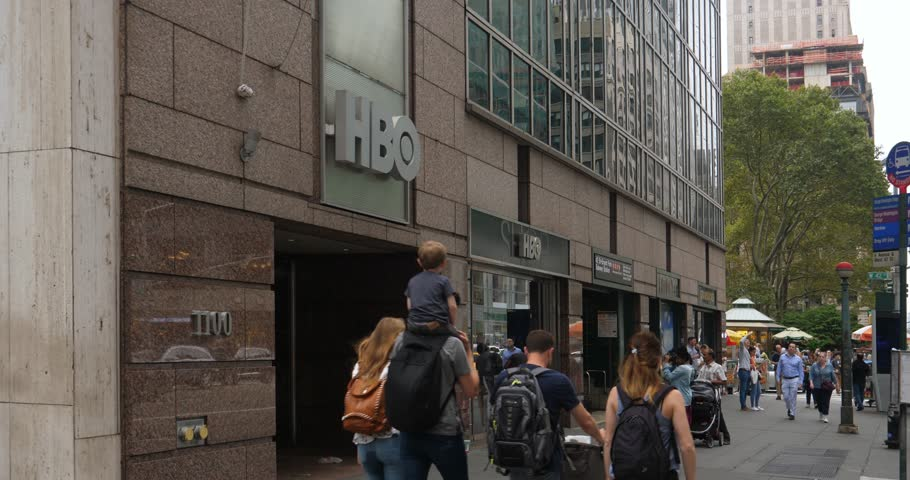 NEW YORK CITY   October, 2017   Pedestrians And Tourists Walk Past The HBO  Corporate