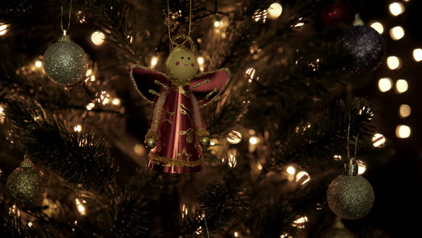 Christmas decoration on tree with bokeh lights in Christmas time.   Shutterstock HD Video #31966759