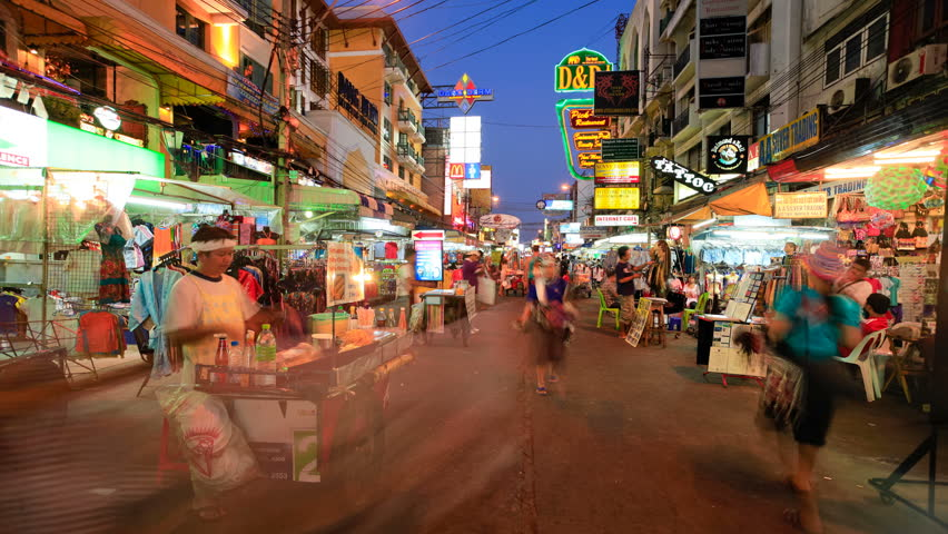 BANGKOK, 20 NOV, Khao San road timelapse view in, Bangkok - people can be seen in this busy street which is a main landmark for tourists on 20 November 2011 in Bangkok, Thailand