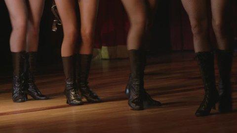 Close up portrait of cabaret dancers legs
