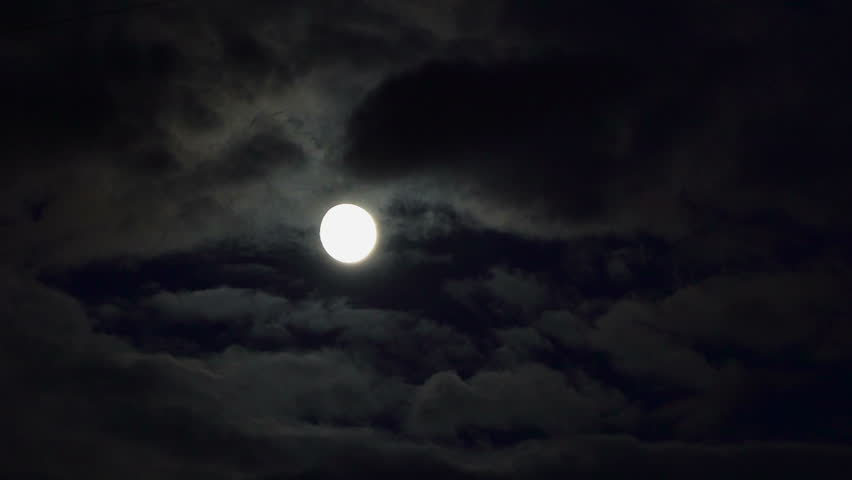 Clouds passing by moon at night. Full moon at night with cloud real time. Details on surface visible | Shutterstock HD Video #31991689