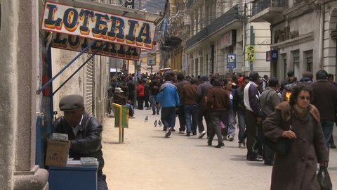 LA PAZ, BOLIVIA, CIRCA FEBRUARY 2015: Pedestrian street in downtown La Paz, Bolivia
