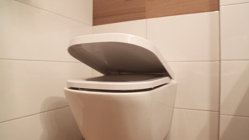 Hanging toilet with soft closing toilet seat lid hinge. | Shutterstock HD Video #32002669
