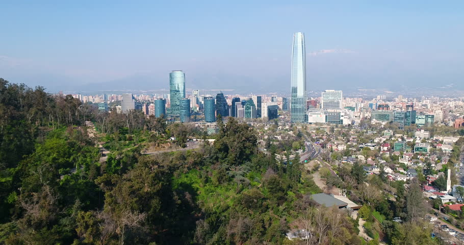 Aerial Drone Birds Eye View of Santiago Chile on a Sunny Day
