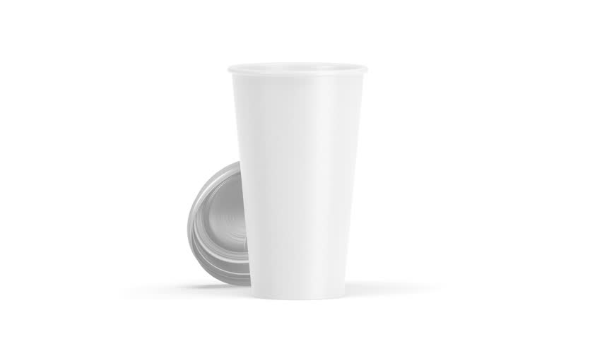 Blank White Disposable Paper Cup Stock Footage Video 100