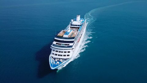 Cruise ship sailing across The Mediterranean sea - Aerial footage