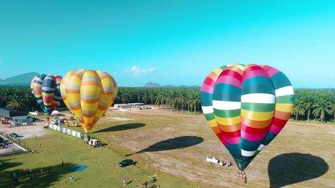 4k aerial view Hot Air Balloon fun fly