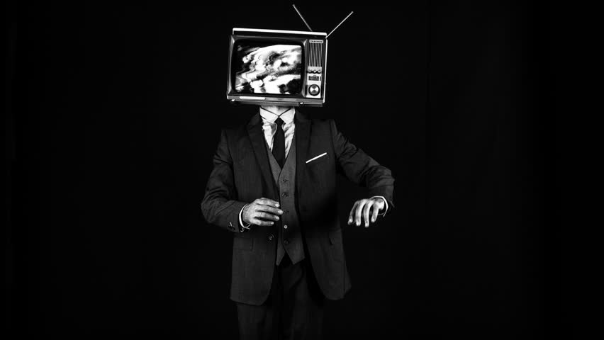 Mr tv head. cool man in a suit dancing with a television as a head. the tv is has video static and noise playing on it. | Shutterstock HD Video #32060839