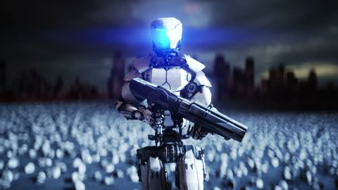military robot and skulls of people. Dramatic apocalypse super realistic concept. Rise of the Machines. Dark future.