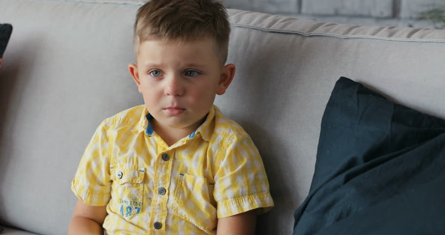 Portrait of a young boy cry sad at home sit on sofa  | Shutterstock HD Video #32084479