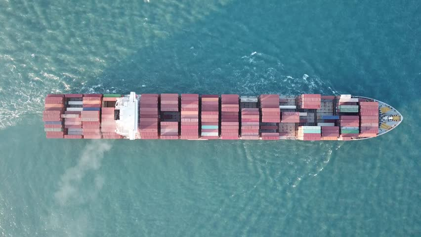 underway LARGE ulcv container ship fully loaded with containers and cargo - aerial 4k view top down #32123839