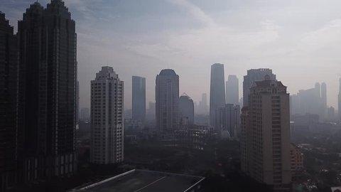 JAKARTA DRONE FOOTAGE, OCTOBER 2017: Aerial View of Jakarta, City Skyline