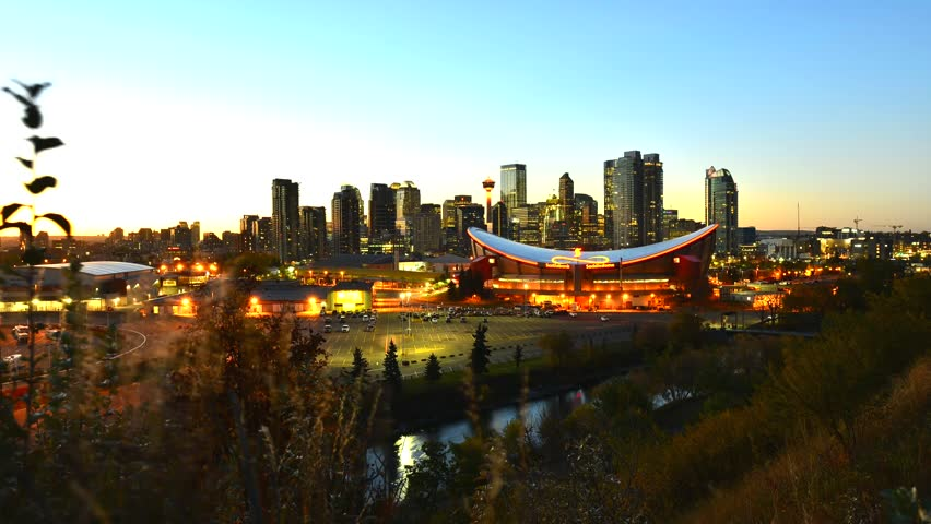 Calgary city skyline at twilight time, Alberta,Canada