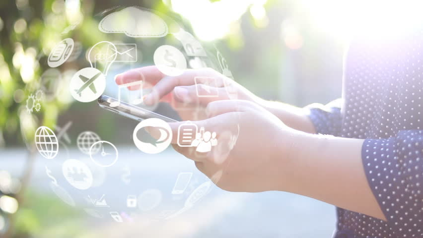 Hand touch screen smart phone, social icons interface on screen, connect to the future concept.  | Shutterstock HD Video #32138749