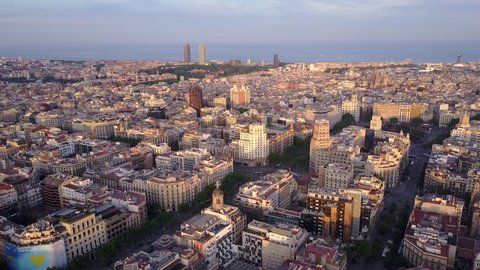 Fly Over of Barcelona Eixample District 2