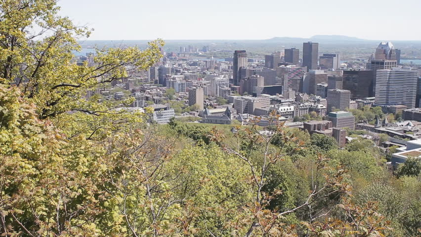 The Financial District Of Montreal City Skyline As Seen From The Lookout On Mount Royal
