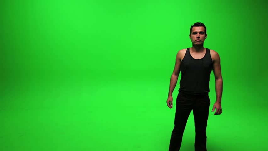 Portrait of young man standing against green screen. male person people. body shape. handsome latino men | Shutterstock HD Video #3215989