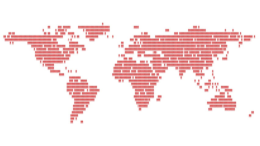 Red world map 4k animation with depth of field saved with alpha world map made of people hundreds of stylized people make up the continents of the gumiabroncs Image collections