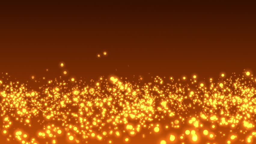 Abstract fire background. Gold glitter bokeh particles. Stage floor for display your product