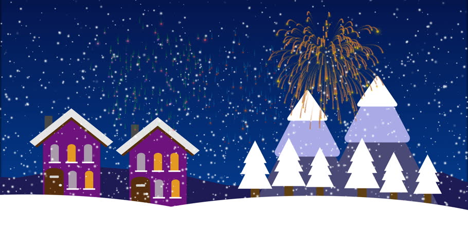 Christmas Town and Fireworks Animation